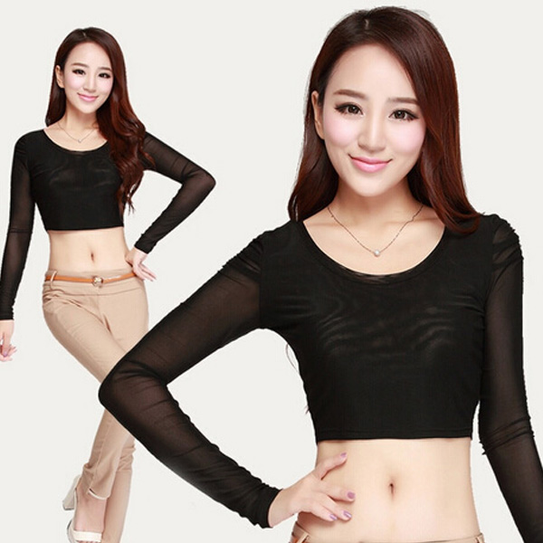 Sexy Ladies Candy Mesh Sheer Gauze See Thru Crop Belly Stretch Plain Top Shirt B