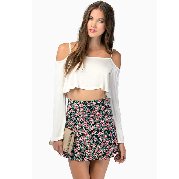 Women Sexy Strap Cold Shoulder Tops Frill Crop Tee Shirt Eve Club Party Blouse D