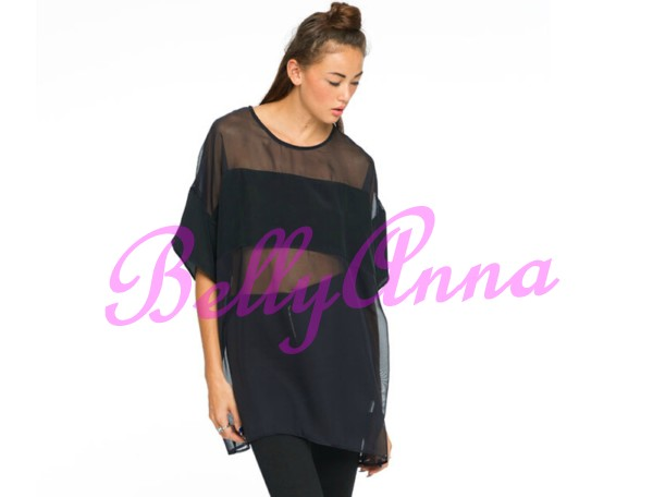 Mesh Sheer Splice See Thru Knitted Party Long T Shirt Top Simple Loose Blouse C