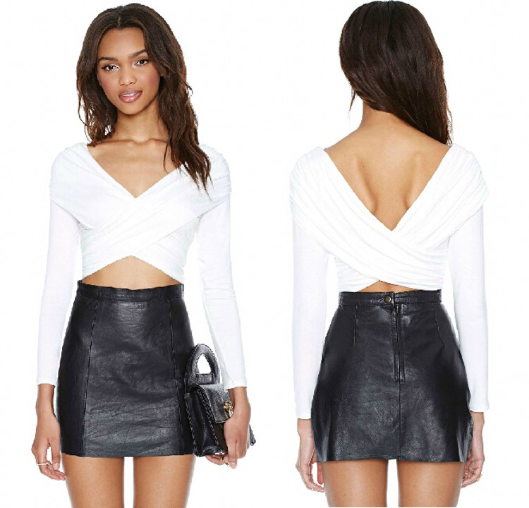Belly Wrap Cropped Deep V Neck Cut Out Ruched Tee Shirt Club Party Top Blouse B