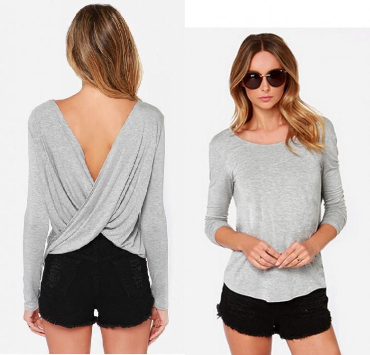 Women Sexy Cross Cowl Backless Tops Baggy Boho Tee Shirt Stretch Club Blouse B