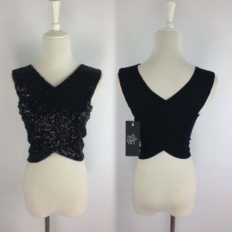 Lady Sexy Cross Band Top Sequins Shiny Stretch Vest Crop Tee Shirt Club Blouse C