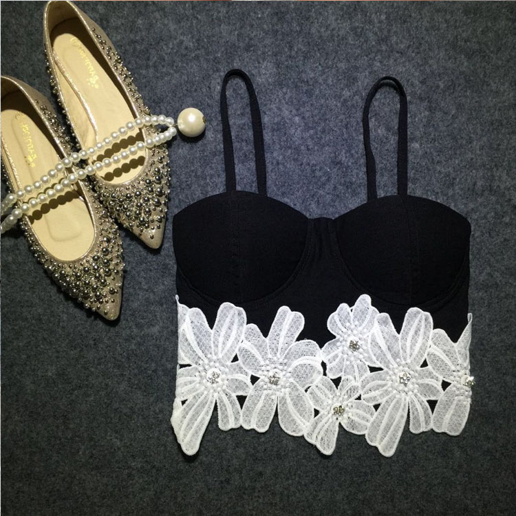 Vtg Sexy Women Flower Crop Strap Bodycon Tops Cami Bralette Club Party Bustier A