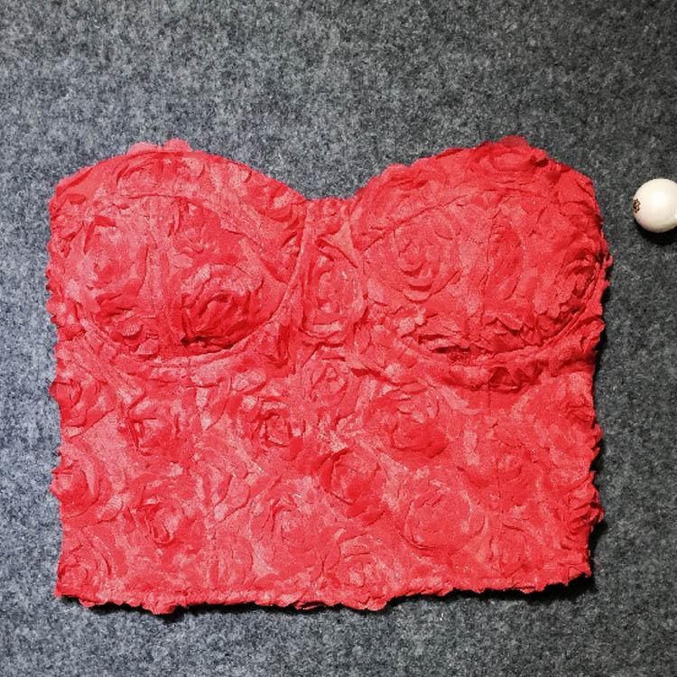 Women Sexy Padded 3D Lace Rose Crop Bustier Bralette Vest Corset Bandeau Tops A