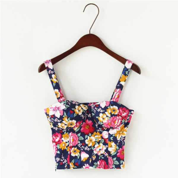 Vtg Ladies Flower Floral Print Crop Bodycon Fit Cami Bustier Top Bralette Vest B