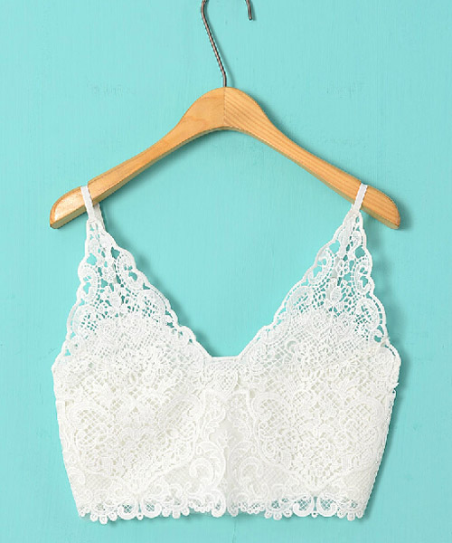 Sexy Lady Crochet Lace Hollow Cami Bodycon Crop Bustier Top Vest Bralette Bra D
