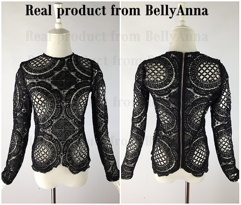Women Sexy Crocheted Lace Embroider See Thru Top Tee Shirt Blouse Casual Club C
