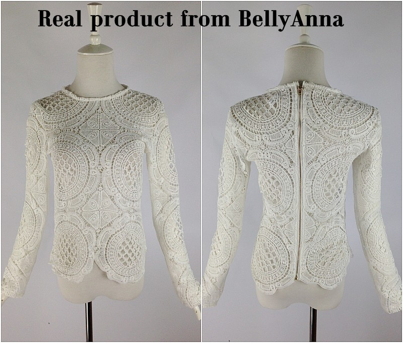 Women Sexy Crocheted Lace Embroider See Thru Top Tee Shirt Blouse Casual Club A