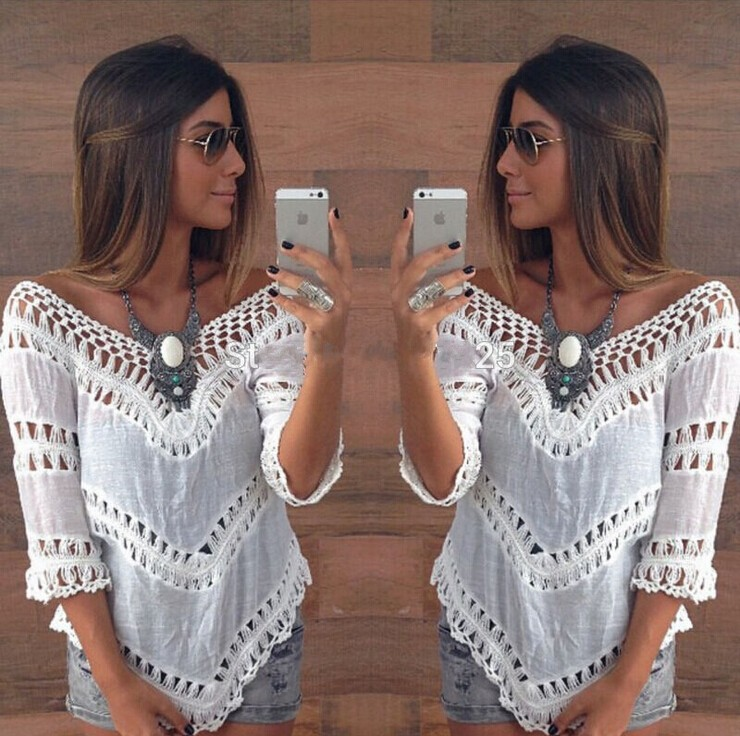 Sexy Women Crocheted Lace V Neck Casual Loose Beach Cove Up Top Blouse Tee Shirt