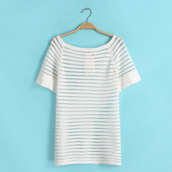 Women Slim Knitted Top Mesh Sheer Striped See Thru Pullover T Shirt Eve Blouse B
