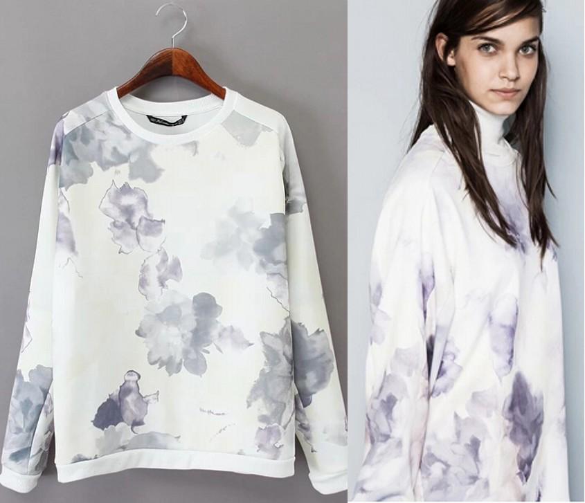 Women Floral Print Hoodie Casual Loose Tops Pullover Sweatshirts Casual Hoody B