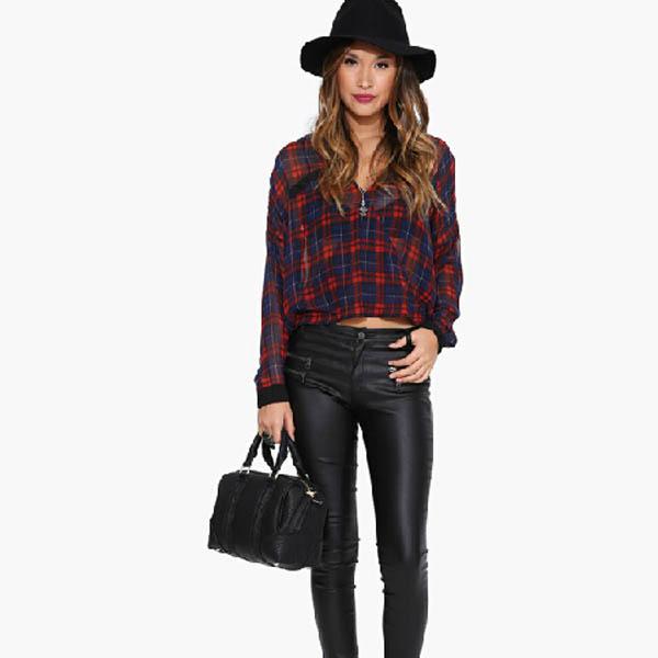 Women Fashion Check Top Chiffon Crop Batwing Loose T-Shirt Casual Club Blouse B
