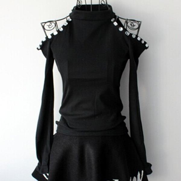 Sexy Women Off Shoulder Crop Rhinestone Bodycon T Shirt Party Club Top Blouse B