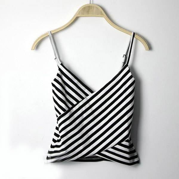 NEW Striped Cross Cami Bodycon Peplum Frill Fit Crop Bustier Top Vest Bralette C