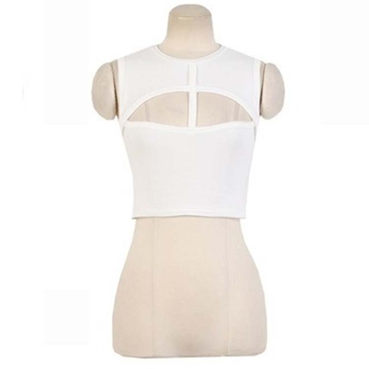 Sexy Womens Crop Cut Out Mesh Bodycon Tight Tops T Shirt Cocktail Party Blouse B